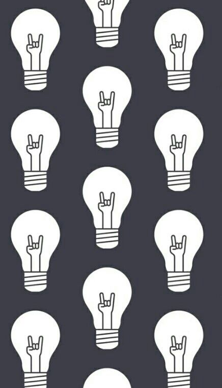 Focus by Charleen // Pattern of light bulbs with heavy metal hand gesture as the filament