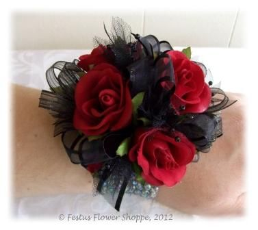 wrist corsage for homecoming for black dress | Festus Flower Shoppe, Festus, Missouri - Flowers in Festus, MO