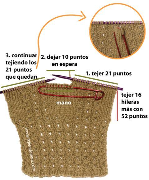 Guantes en dos agujas tejiendo per mis tejidos - Tejado a dos aguas ...