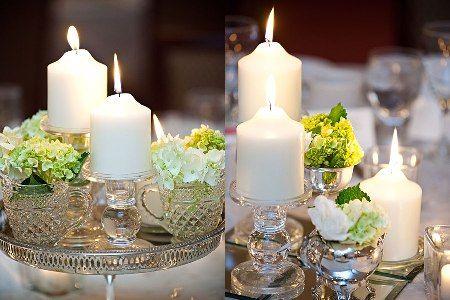 Om flera bord - ha en bricka med dekorationer