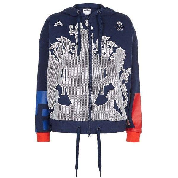 Adidas Originals Team GB Hoodie ($85) ❤ liked on Polyvore featuring adidas originals and cotton jersey