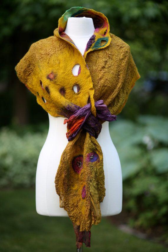 Nuno Felt Shawl, Golden Sunset, Gold, Purple, Green, Pink handpainted silk and Merino wool, gift for her