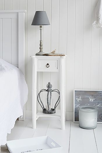 Tall, slim, white bedside table . Bedside tables, decor and bedroom furniture for Coastal, white, New England, French, Scandinavian homes from the White Lighthouse. Order online with fast delivery.