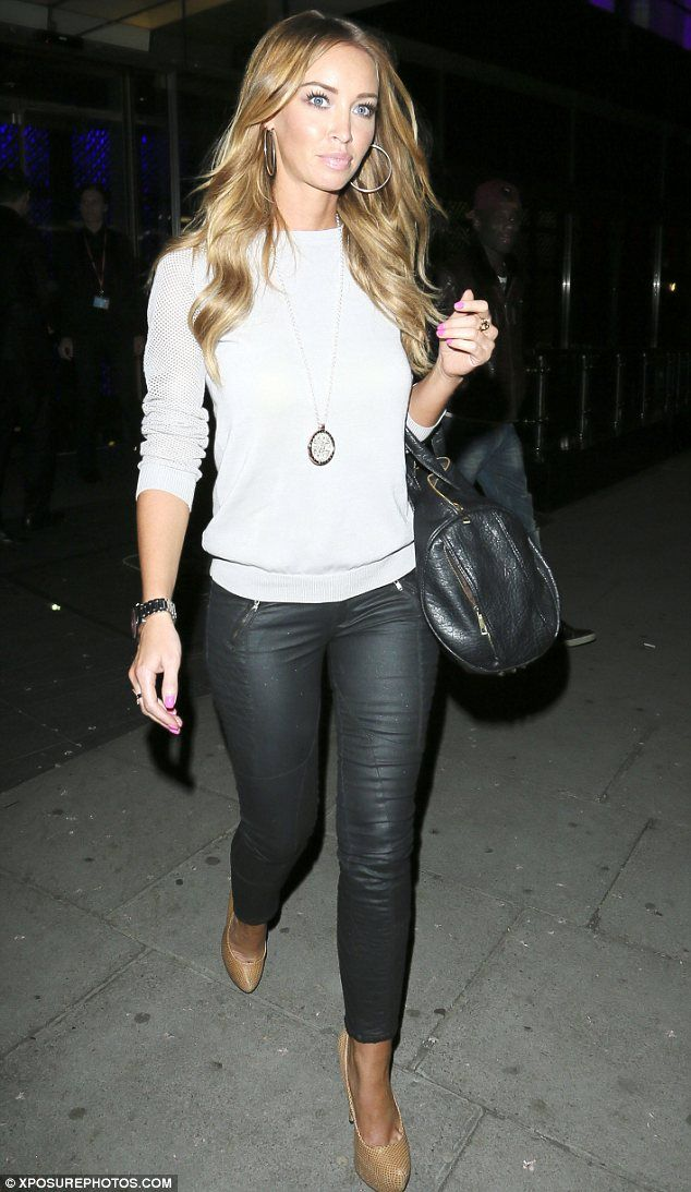 Lauren Pope wore a cream jumper and a pair of leather trousers for the night out at the casino