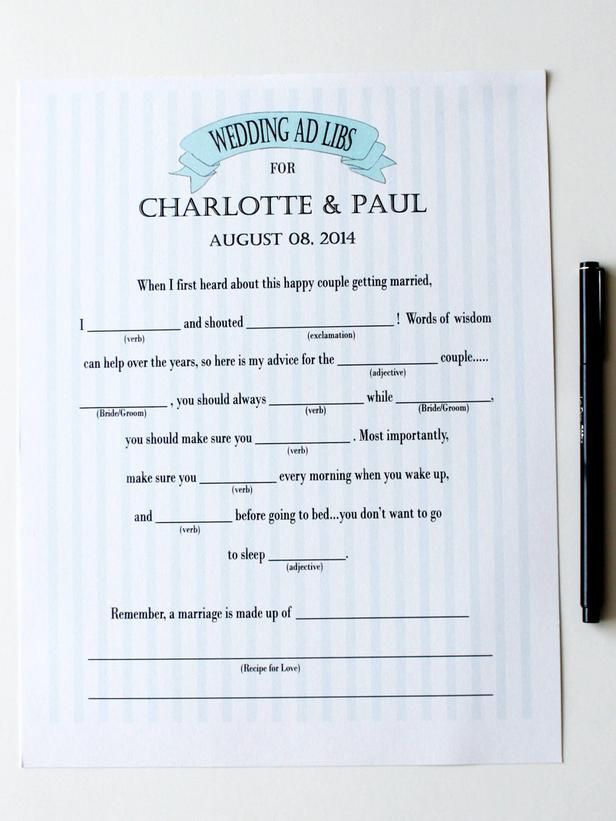 Free Printable Ad Libs for Wedding Showers : Home Improvement : DIY Network