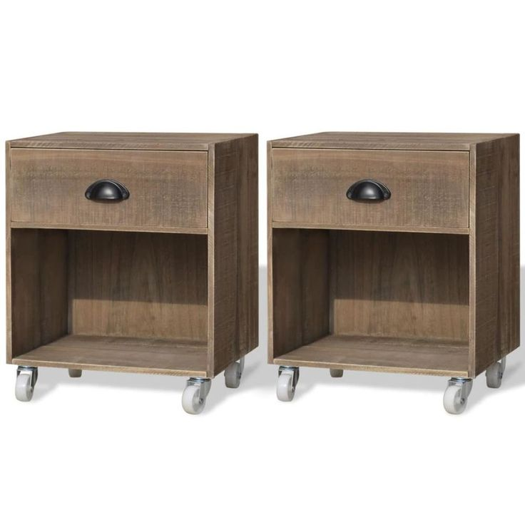 Home Bedside Cabinet Table Bedroom Nightstand Furniture Wooden 2 Pieces Rollers #HomeBedsideCabinet