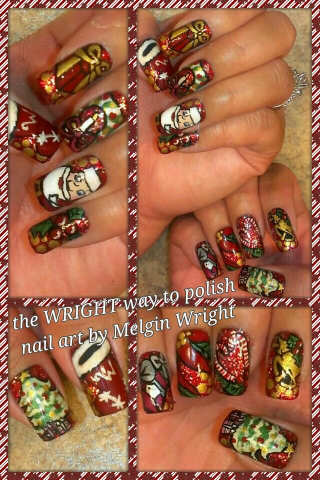 Christmas Spirit- Hand painted nail art. Painted with Nail polish and acrylic paint by Melgin Wright  http://www.facebook.com/TheWrightWayToPolishNailArtByMelginWright  http://pinterest.com/melginswright/boards/