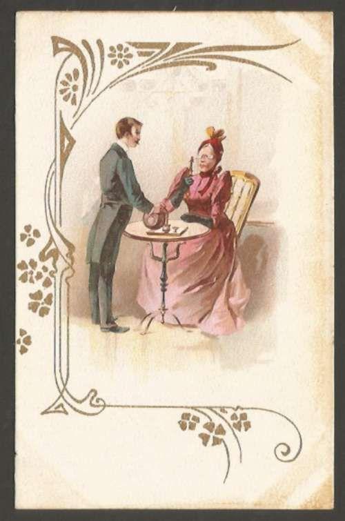 Art ? Noveau Litho Cromo Elegant Woman & Waiter Postcard L@@K