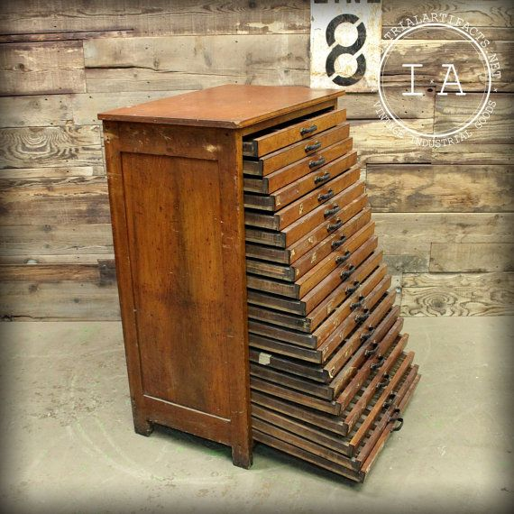 R Hoe Co 20 Drawer Antique Cherry Flat File Drafting Cabinet Vintage Industrial Furniture
