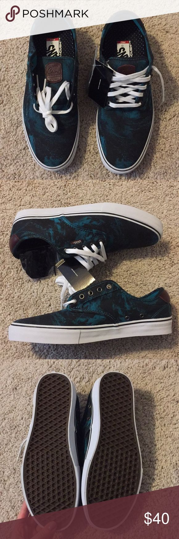 """Vans Chima Ferguson Pro Sneakers Brand new Vans Chima Ferguson Pros. Size 11.5 Men's, have the """"ultra Cush"""" soles so they are very comfy! Marble print in black and turquoise color. Come with an extra pair of black laces. Vans Shoes Sneakers"""