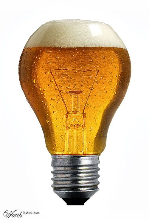 beer light bulb though I think if it were an actual glass, drunkards would not be able to balance the cup onto the small rim