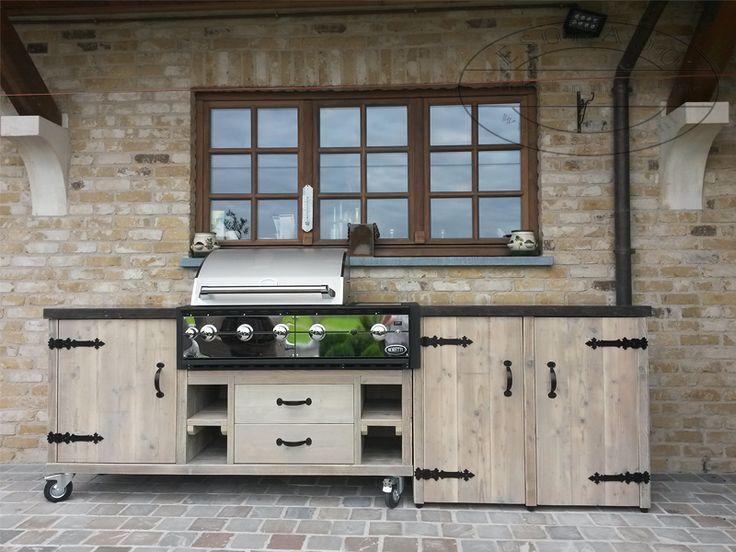 Buitenkeuken met hardsteen blad, buitenkeukens, houten buitenkeuken, landelijke buitenkeukens