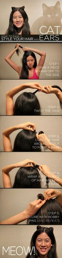 Kitty cat ears hair do  ~Need to to do this for my boyfriend! :3