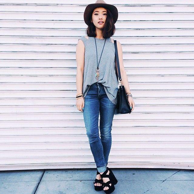Back to basics • Shirt: @Hanh Phan • Jeans: @david • Shoes: @Lovely Wholesale • Hat: @Topshop