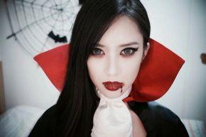 maquillage halloween vampire, très réussie, femme vampire look achevé