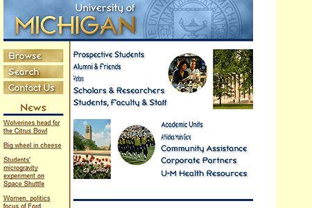 University of Michigan website 1998