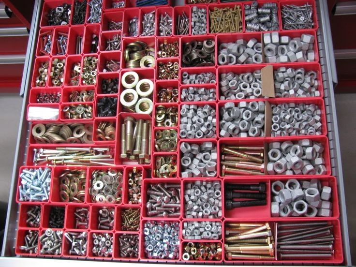 Garage organization, hardware organization, nut and bolt organization, tool cabinet organization