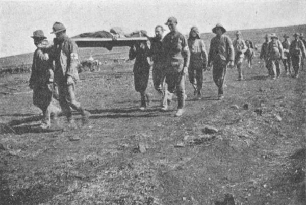 Bringing in the wounded. 2nd Batt Royal Dublin Fusiliers. Battle of Colenso, Boer War 1900