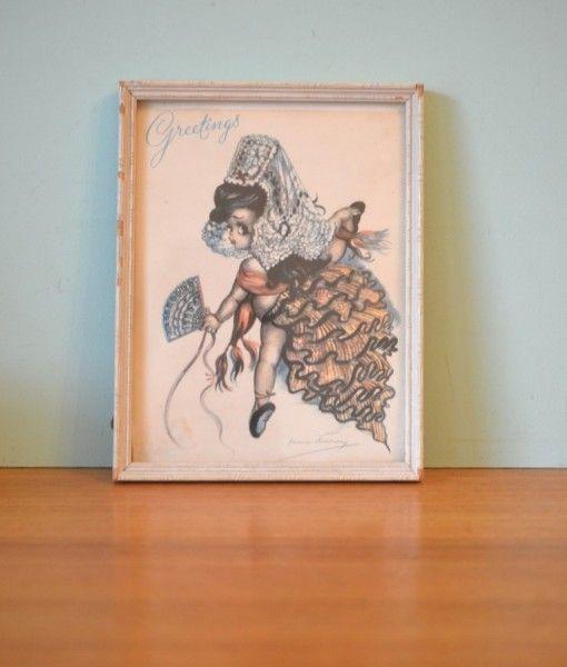 Vintage Brownie Downing print card Senorita