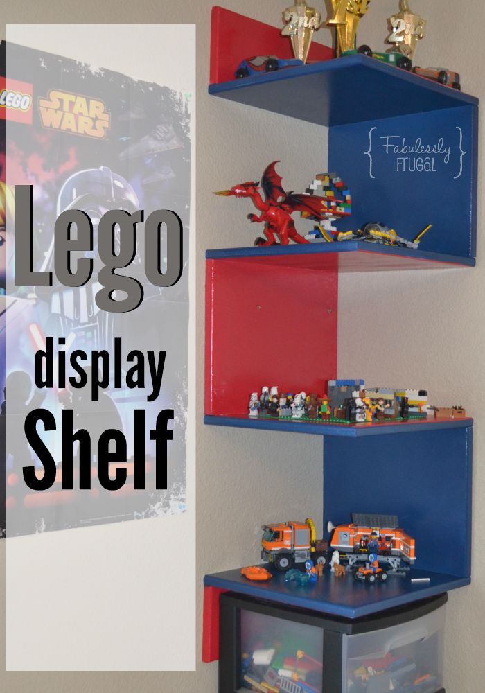 This fun Lego display design stands out as a unique way to show off special Lego creations!