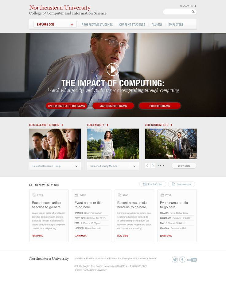 #Minimalistic #Webdesign for Northeastern University