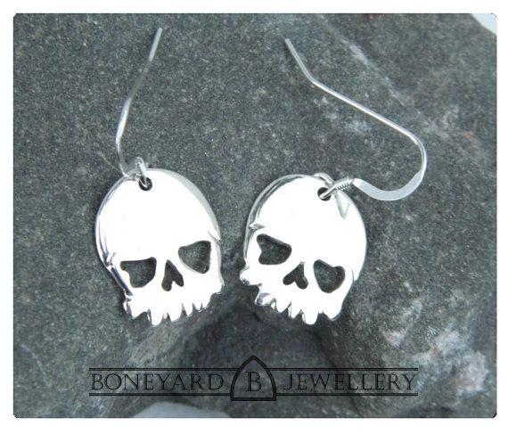 Sterling Silver Skull Earrings by BoneyardJewellery on Etsy, £19.99