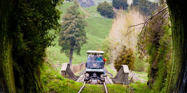 Riding the golf cart trains on a Forgotten World Adventures trip is enormous fun.