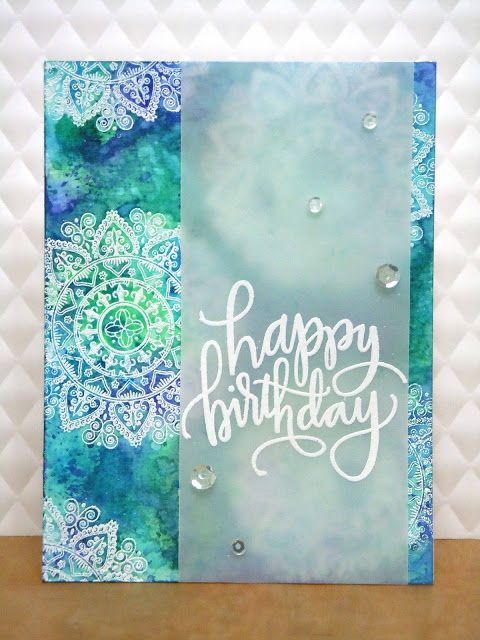 Handmade by Michelle: Blues and greens for a Happy birthday