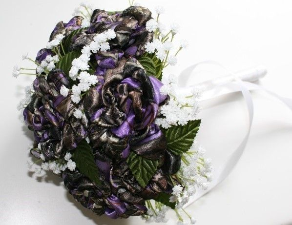 Purple Camo Bridal Bouquet.  13 camo colors available.  Camo flowers sold individually on pic stick, or long stem rose with leaves.  Camo bouquets available in several sizes.