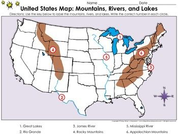 United States Map Mountains Rivers And Lakes Locate Places On A Map 2