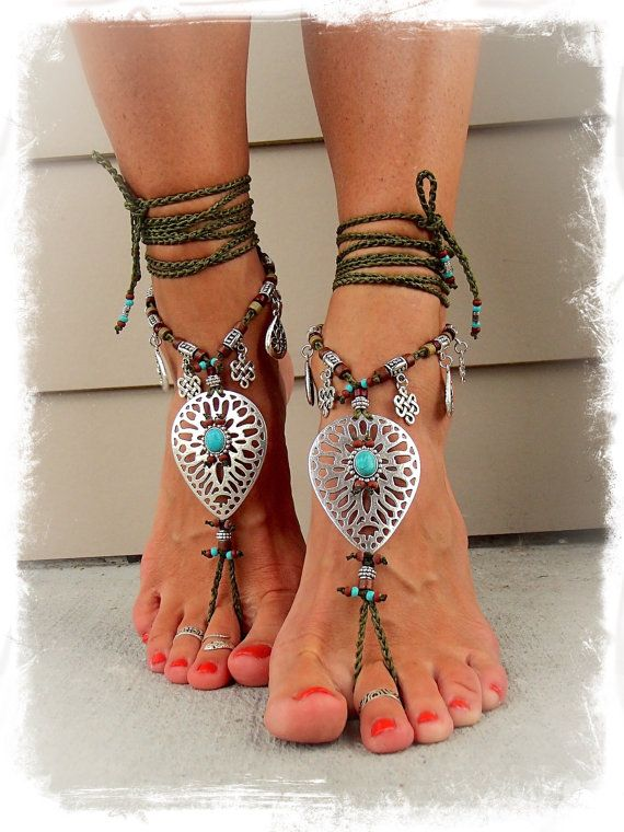 Khaki NATIVE BAREFOOT sandals Earthy Tribal Toe ANKLETS by GPyoga