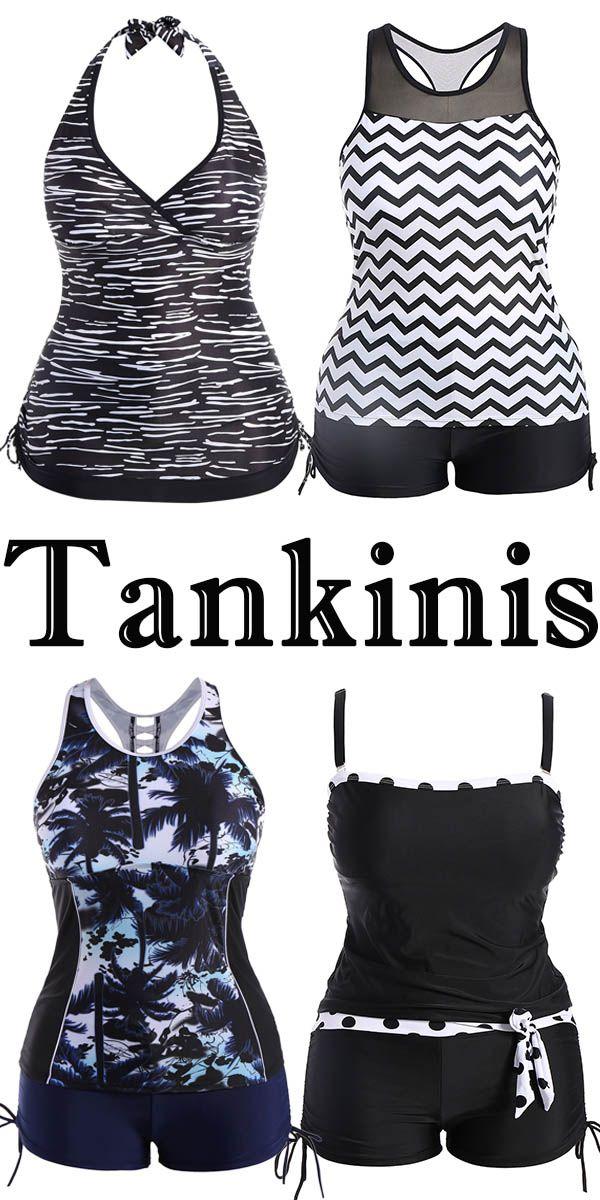 Zebra Pattern Plus Size Tankini Swimwear