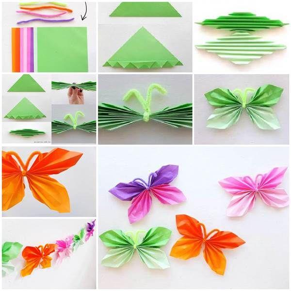 Easy Folded Paper Butterflies #DIY #craft