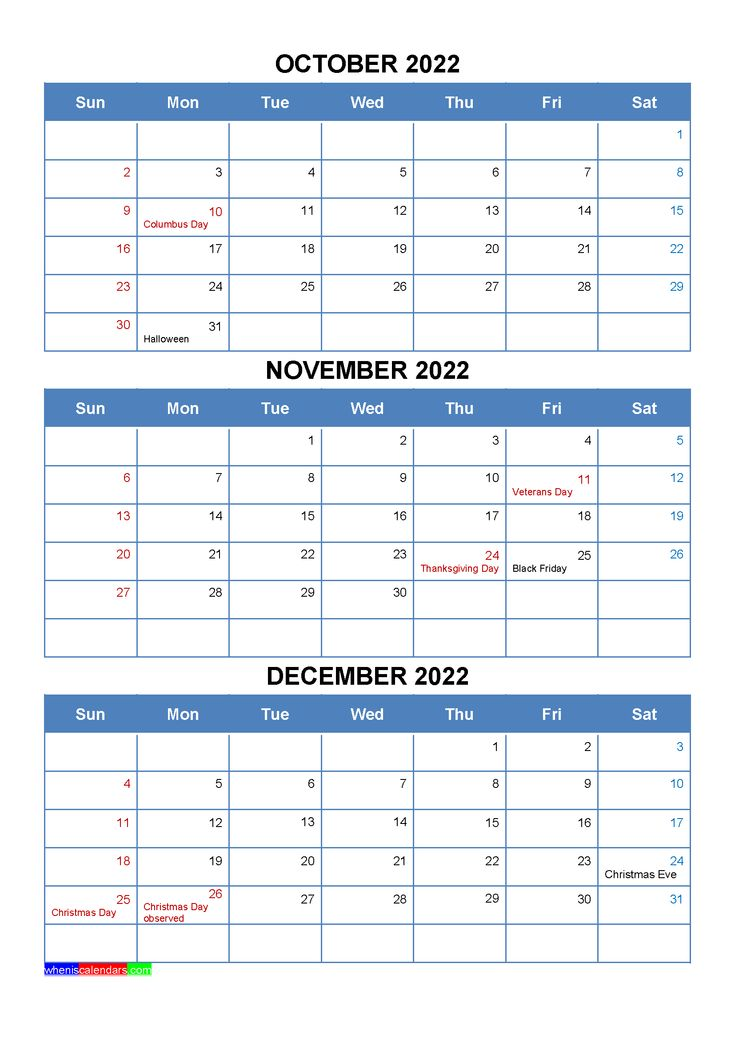 October November December 2022 Calendar With Holidays Four Quarters Printable Calendar July Calendar Printables January February March