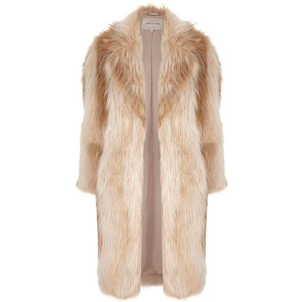 River Island Cream faux fur coat (375 RON) ❤ liked on Polyvore featuring outerwear, coats, jackets, coats & jackets, fur, coats / jackets, cream, faux fur coats, women и oversized coat
