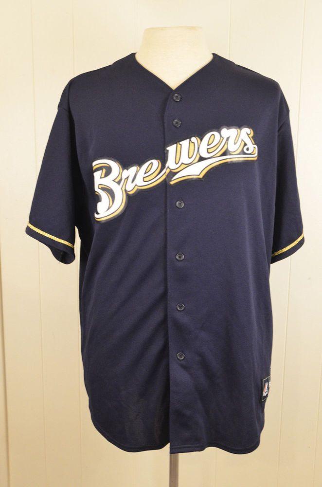 Majestic Milwaukee Brewers MLB Navy Jersey Adult 2XL XXL Blue Stitched Sewn #Majestic #MilwaukeeBrewers