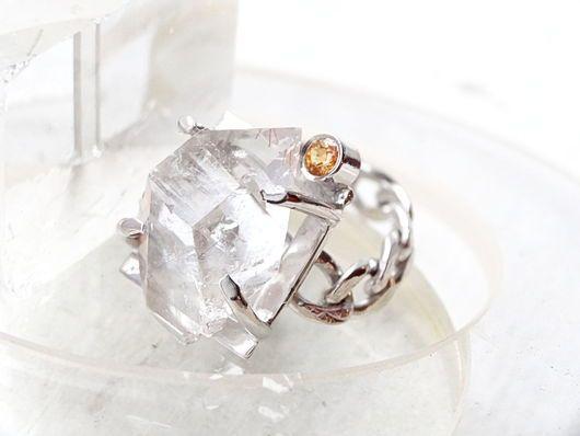 Кольца ручной работы. Ярмарка Мастеров - ручная работа. Купить Серебряное кольцо с хрусталем и желтым сапфиром. Handmade. Белый