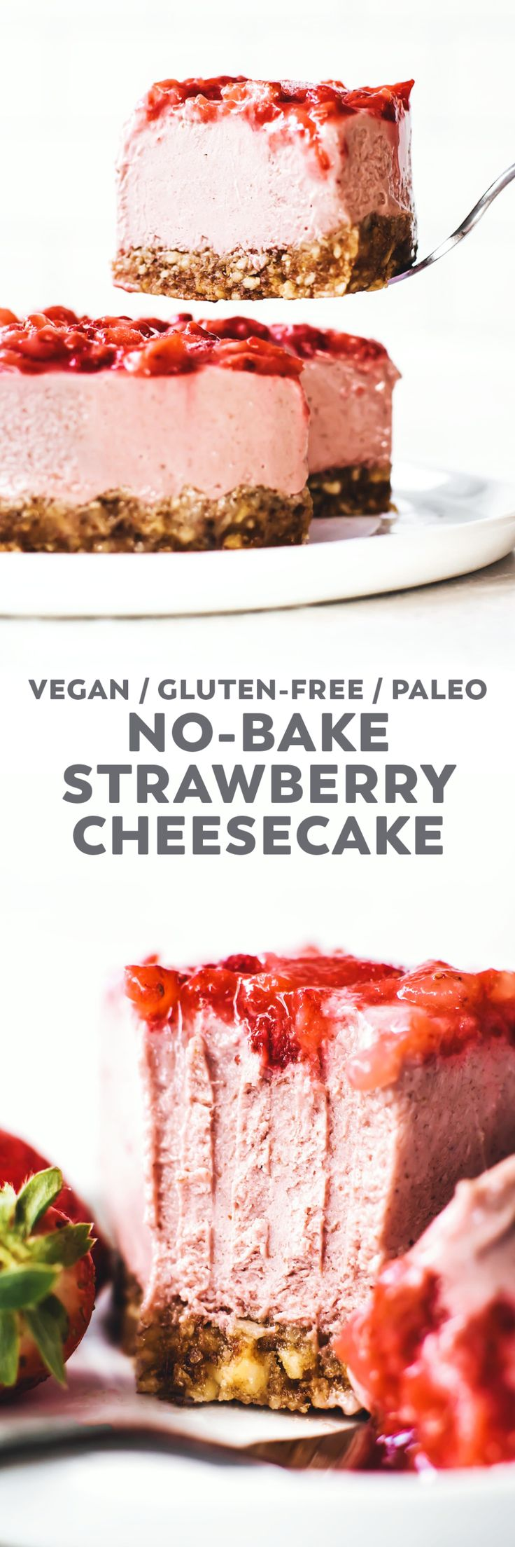 No-Bake Strawberry Cheesecake! Made with fresh berries, cashew butter, dates, and an easy almond crust. Creamy, dreamy, and actually pretty healthy...for cake. #vegan #glutenfree #paleo #recipe #cheesecake #healthyrecipe