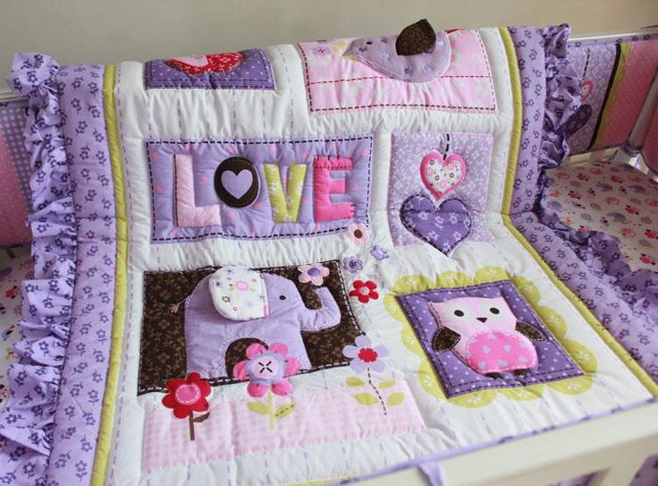 Baby Bedding Set Purple 3d Embroidery Elephant Owl Baby Crib Bedding Set 100% Cotton Include Quilt Bumper Bed Skirt Etc Cot Bedding Kids Twin Bedding Sets Girl Bedding Sets From Xsh003, $87.96| Dhgate.Com