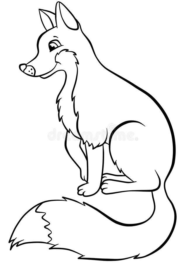 35+ Cute Sitting Fox Clipart Black And White