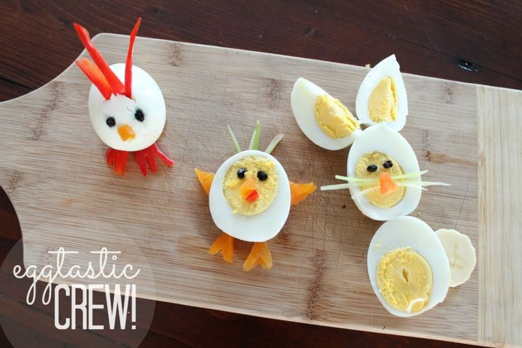 "Make an ""eggtastic crew"" for a cute, quick breakfast or snack!"