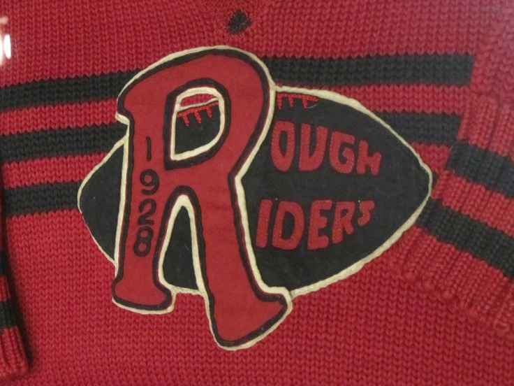 1928 Roughrider sweater.  Saskatchewan Sports Hall of Fame  Photo by: Marcy Stickle