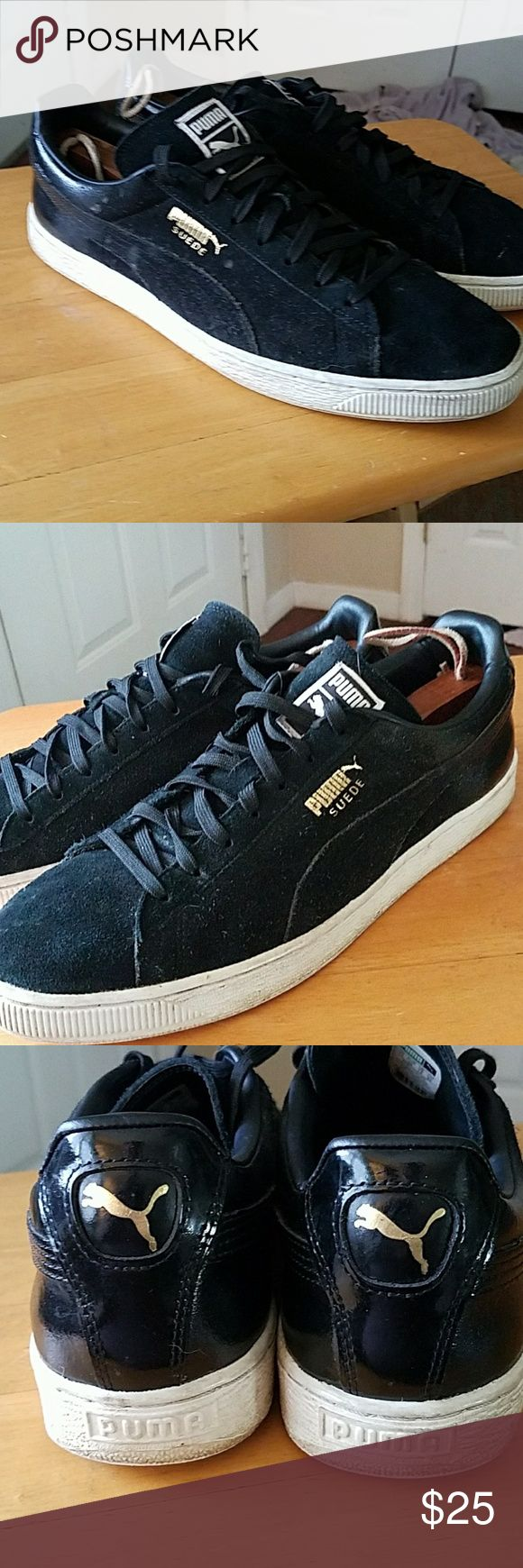 Puma  classic Clydes in size 12 Mens Classic Clydes in size 12, these were a limited edition with the polished heal to the classic suede  all black with the gold branding. These have a few water spots on the suede but does not effect the classic coolness. Price is firm. Puma Shoes Athletic Shoes