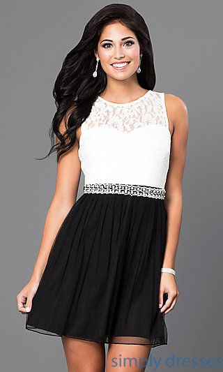 Black And White Short Lace Bodice Semi Formal Dress In 2019 Formal