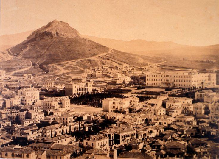 Η πλατεία Συντάγματος και ο Λυκαβηττός, γύρω στα 1865 Syntagma Square and Mount Lycabettus on 1865