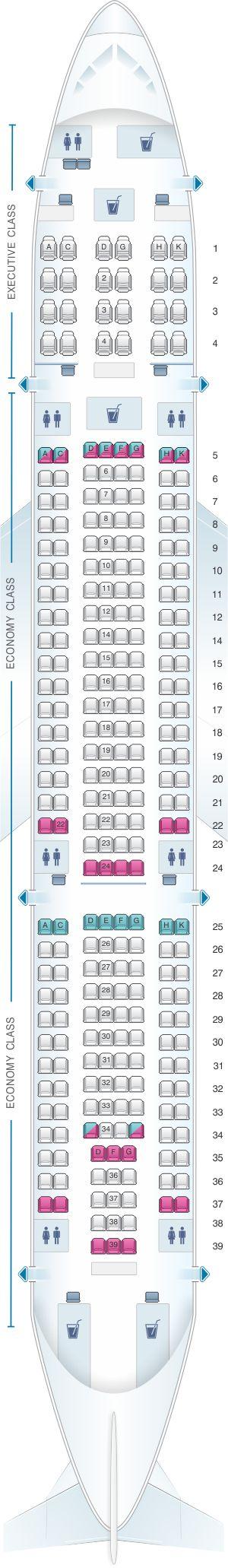 Seat Map SATA Air Açores Airbus A330 200