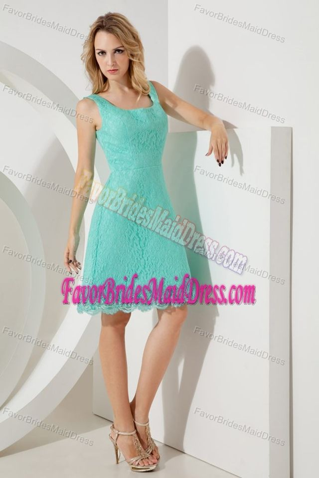 Fashionable Turquoise Square A-line Lace Outdoor Bridemaid Dress for Church Wedding