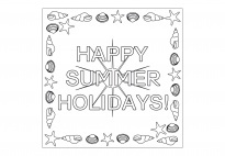 Happy Summer Holidays - Coloring Page: Idea, School Year, Coloring Pages, Summer Activities, Summer Holidays, Kindergarten Kids, Happy Summer