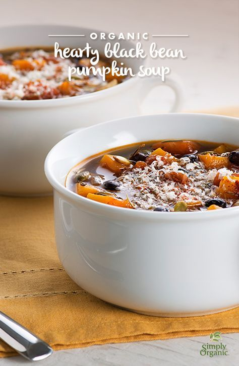 Well-seasoned with savory herbs and spicy chili powder, this hearty black bean pumpkin soup recipe will quickly become a cold-weather favorite.