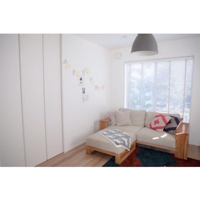 twoさんの、部屋全体,ブラインド,IKEA 照明,ほっこり,ランドリールーム,プレイルーム,ブログ更新しました,北欧テイスト,のお部屋写真
